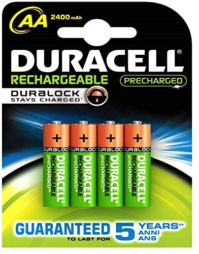 Aksans (TM) 4 x piles rechargeables NiMH Duracell Duralock Pre/Stay Charged AA 2400 mAh