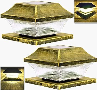Solar Post Cap Lights Outdoor 4 x 4 Vinyl Bronze Lantern for 4x4 5x5 Wood or PVC Posts Bright 15 Lumens Fence Light Warm White LED Deck Lighting Waterproof Porch Caps Lamp Dusk to Dawn 2Pack