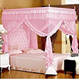 Mengersi Pink Kids Princess Bed Canopy For Little Girls Toddler Twin Bed Curtains Mesh Mosquito Net Christmas Gift Birthday Present