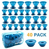 JANYUN 40 Pcs Blue Magic Silicone Hair Curlers with Bag