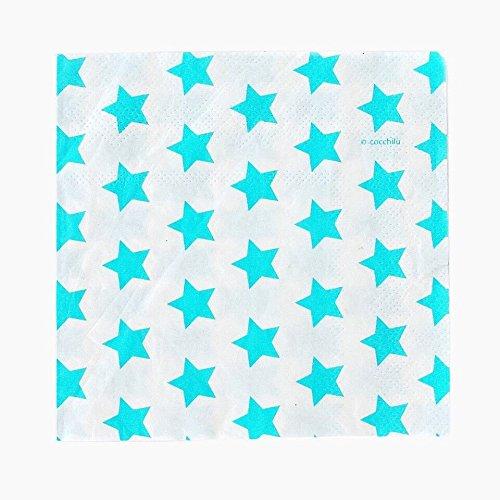 Cocchilu-20 Servietten Sterne hellblau 25x25, mehrfarbig, 5CC2409760