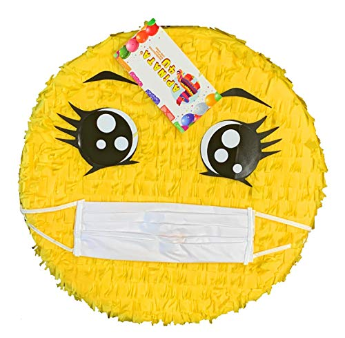 Emoticon Pinata with Face Mask Coronavirus Pinata Covid-19 Covid Pinata Covid Theme Party Covid Themed Birthday Quarantined Birthday Stay Safe Party You Are Not Invited Themed Party