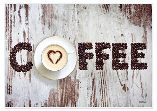 Artipics Tischsets Platzsets Abwaschbar Heart of Coffee 4 Stück Kunststoff 42x30 cm