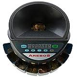 AREBOS Münzzähler | 300 Münzen pro Minute | für Euro Münzen | 8 mobile Sortierbehälter | mit Sortier- und Zählfunktion | LED-Display | Sortiermaschine | Geldzählmaschine | Schwarz | - 2