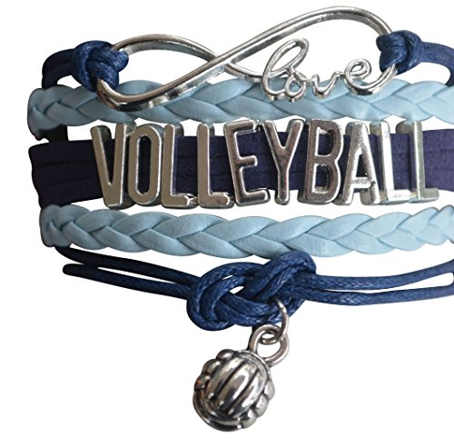 Infinity Collection Volleyball Charm Bracelet - Volleyball Jewelry - Blue Volleyball Charm Bracelet for Volleyball Players - Perfect Volleyball Gifts for Players