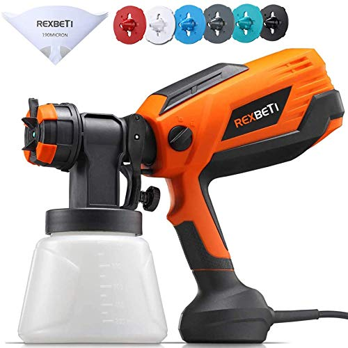 REXBETI 700 Watt High Power Paint Sprayer, 1000ml/min HVLP Home Electric Spray Gun with 1000ml Container, 4 Nozzle Sizes, Easy Spraying and Cleaning