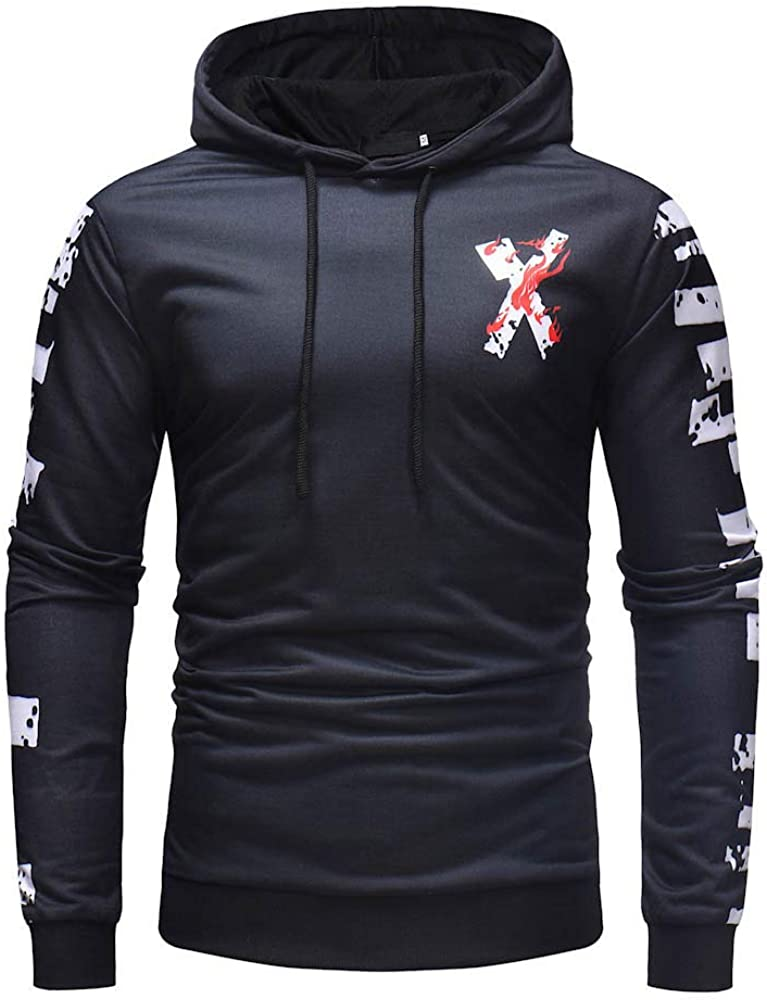 Hoodies for Men Pullover Lightweight, F_Gotal Unisex 3D Printed Long Sleeve Hoodies Casual Hooded Pullover Outwear