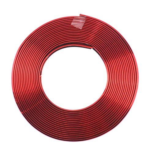 Daojun 8 m Nuevo Ajuste de la Llegada para la Rueda de automóvil Hub Rim Borde Protector Ring Tire Guard Sticker Line Strip de Goma Ajuste para Volkswagen Skoda Citroen (Color : Red)