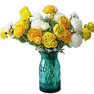 "Calcifer 6 Sets(3 Flowers/Set) 19.29"" Ranunculus Asiaticus Artificial Flowers Bouquet for Home Garden Wedding Party Decoration (Yellow)"