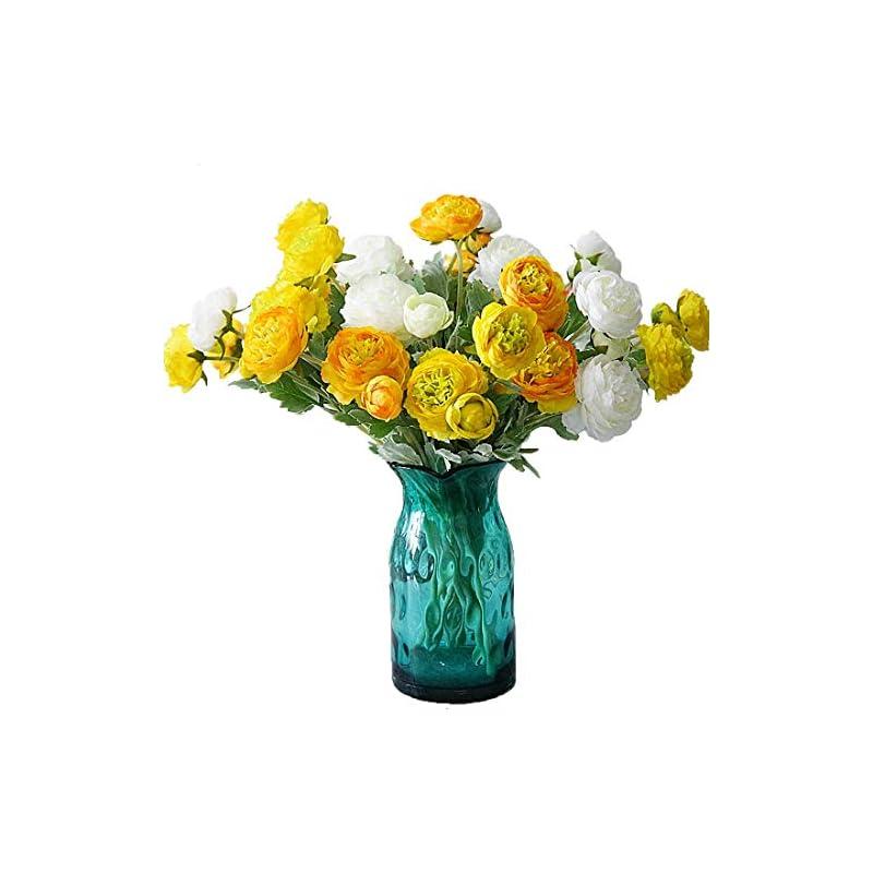 silk flower arrangements calcifer 6 sets(3 flowers/set) 19.29'' ranunculus asiaticus artificial flowers bouquet for home garden wedding party decoration (yellow)