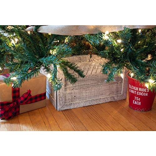 BarnwoodUSA | Wooden Tree Box Collar | White Wash | Farmhouse Tree Box | Christmas Tree Skirt | Rustic | Decorations | Home Accent | 100% Reclaimed & Recycled Wood | 4 Sides