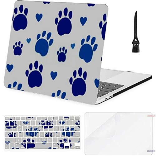 MacBook Air 13 Inch Case Paws Pattern Love Animals My Pet MacBook Air11 Case MacBook Pro13 Pro15 Plastic Case Keyboard Cover,Screen Protector,Keyboard Cleaning Brush