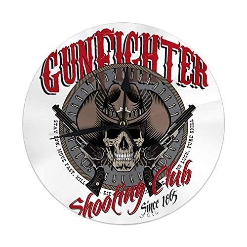 Night Ing Orologio da Parete Tondo Gunfighter Skull in Cowboy Hat Two Crossed Gun And Bullets Bianco Decorativo per casa, Ufficio, Scuola