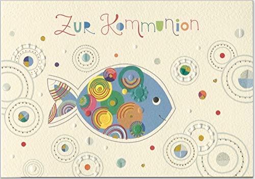 Grußkarte mit Umschlag zur Kommunion, geprägtes Reliefpapier (original von Turnowsky, est. 1940) Motiv: 1x blauer Fisch