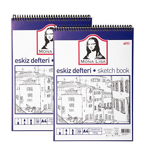 Bloc de dibujo 120 hojas, Sketchbook con 100 g/m2 papel blanco para dibujos, libro vacío (21,0 x 29,7 cm) con 240 páginas de papel, con tapa dura negra resistente (DIN A3 espiral)
