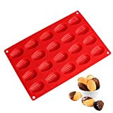 SveBake Madeleines Stampo per 20 Madeleines in Silicone, 30x20 cm, Rosso