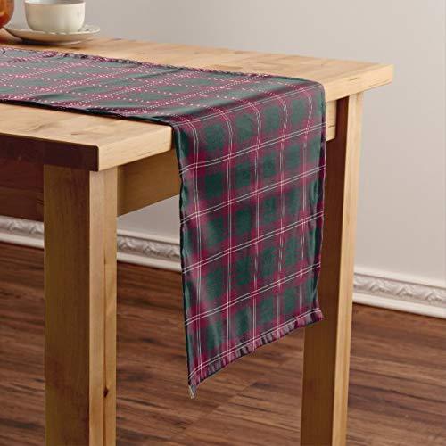 CICIDI Clan Crawford - Camino de mesa corto, diseño de tartán escocesa, color marrón y verde