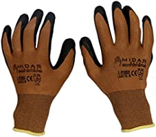 TheCoolio Midas Safety Brown Shell with Black Crinkle Finish Latex Coating Glove (Medium)