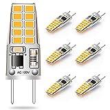G8 LED Bulb 3W Equivalent to T4 JCD Bi-Pin G8 Base Halogen Bulb 20W-25W Dimmable G8 Light Bulb 120V Warm White 2700K-3000K for Puck Light, Under Cabinet Light, Under Counter Light (6 Pack)