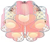 Moderno corazón dormitorio luces de techo acogedor metal hueco fuera de tela amante de la sala de estar de la sala de estar chandeliers blanco acrílico lámpara sala de estudio sala de techo creativo (