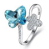 Clearine - Anillo Mujer 925 Plata Esterlina Mariposa Abierto Final Ajustable Adornado con Cristales Color Aguamarina