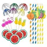 220 piezas de decoración de cóctel,Paraguas de Cóctel,fiesta de verano pajitas de papel,palitos de fuegos artificiales,palitos flamencos for El Hogar,La Fiesta,El Bar