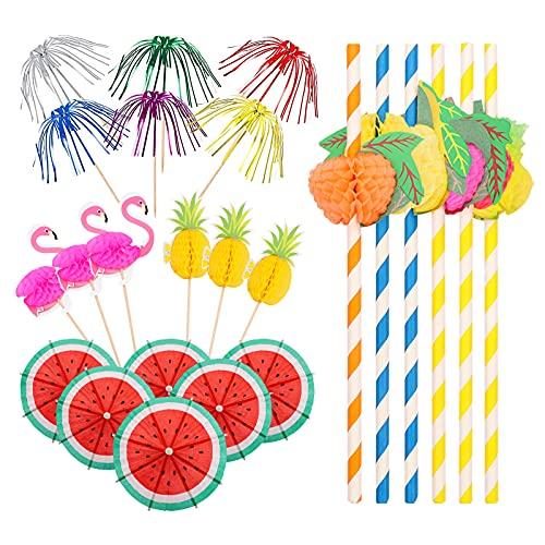 220 pezzi Decorazione per cocktail ombrellini cocktail Bastoncini da Cocktail Cannucce di carta Stecchini da Cocktail Fuoco Artificio Flamingo Fruit Cocktail Decorativi per Decorazione Cocktail Torte