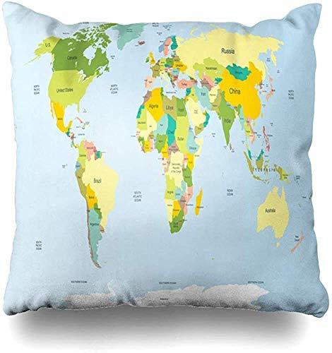 Doble Cojines Fundas 18' Arte País Mapa Político del Mundo Muy Detallado Tierra Plana África América Detalle Funda de Almohada Suave para la Piel