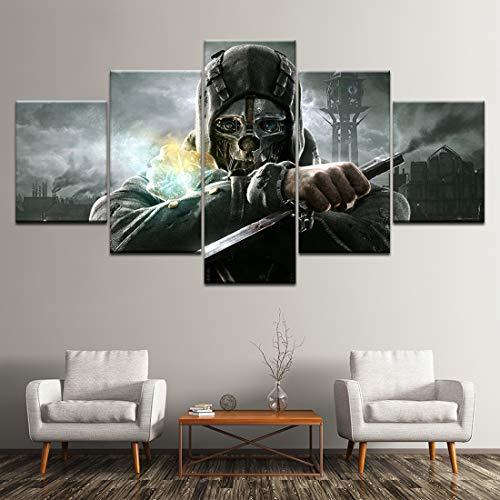 Angle&H Wandkunst 5 Stücke Segeltuch Drucken Gemälde Dishonored 2 Corvo Gameplay Modular Gemälde Hintergründe Poster Wohnzimmer Zuhause Dekor,B,30x40x2+30x80x1+30x60x2
