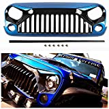 TOPFIRE Painted Front Grill for Jeep Wrangler JK 2007-2018, Including Rubicon, Sahara and Sport, Blue & Black
