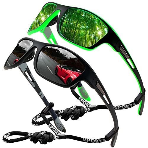 Perfectmiaoxuan Occhiali da sole polarizzati per uomo donna/Cool Fishing Golf Biking Guida Pesca arrampicata Sport all'aperto occhiali da sole (2 Pack (Black/Green))