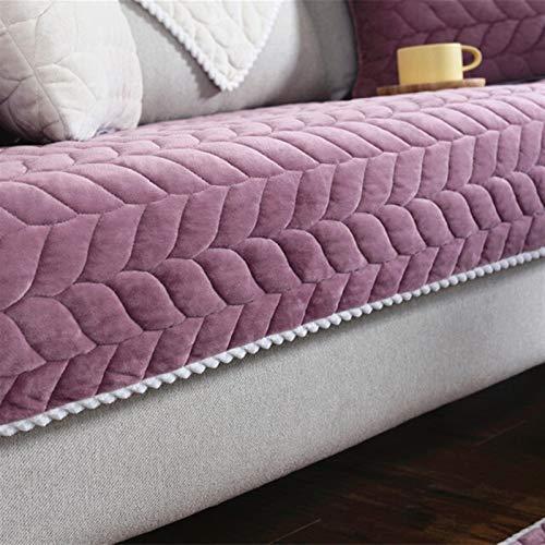 Housse de Canapé Tissu Épaissir en peluche Sofa dentelle antidérapante Housse Siège Couch Couverture Sofa Serviette for Living Room Decor (Color : Purple, Specification : W90 x L90cm)