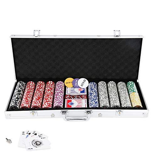 Hengda Mallette de poker 500 jetons de poker jetons laser poker 11,5 g, 2 cartes, distributeurs, petit blind, touches Big Blind et 5 dés, avec boîtier en aluminium argenté