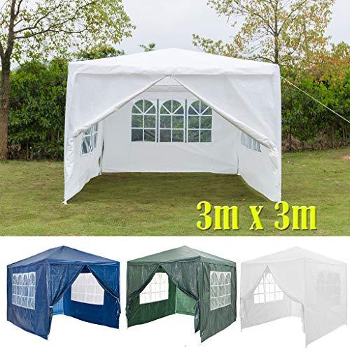DayPlus 3x3m Garten Pavillon mit Seitenteilen, Wasserdichter und UV-Schutz Markise Festzelt Partyzelt, 120g PE Power Coated Steel Frame Hochzeitszelt Weiß