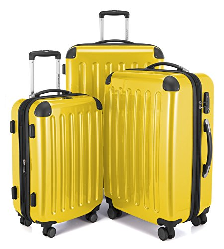HAUPTSTADTKOFFER - Alex -  4 Doppel-Rollen 3er Koffer-Set Trolley-Set Rollkoffer Reisekoffer, TSA, (S, M & L), Gelb