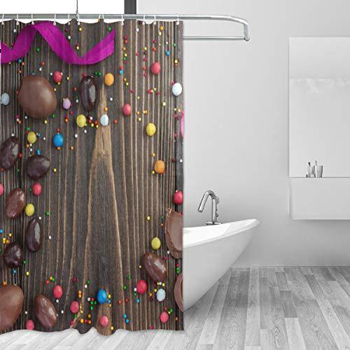 BONIPE Happy Easter Chocolate Candy Duschvorhang aus wasserdichtem Polyestergewebe, 152,4 x 183,9 cm, schimmelresistent, für Zuhause, Badezimmer, dekorativ mit 12 Haken