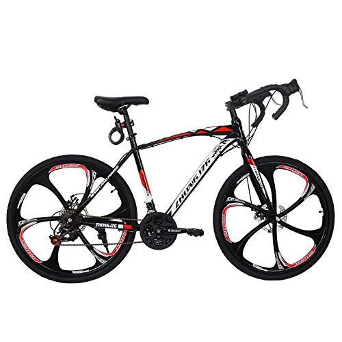 Road Bike Aluminum 700C Wheels 21 Speed Dual Disc Brakes Full Suspension 26 inch Road...