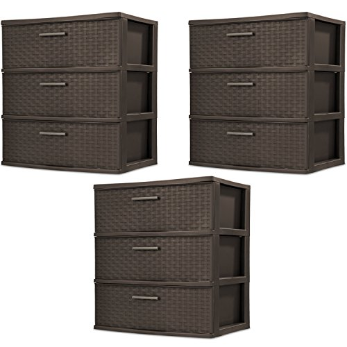 Sterilite 25306P01 3-Drawer Wide Weave Tower, Espresso Frame & Drawers w/ Driftwood Handles, 3-Pack