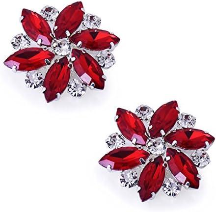 ElegantPark Shoes Dress Hat Accessories Fashion Rhinestones Crystal Shoe Clips 2 Pcs Multi Color