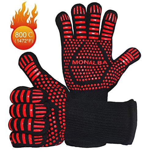 Extreme hittebestendige BBQ grillhandschoenen, pothouders bestand tegen hitte 1472°F Premium Barbecue & Oven Mitts EN420,EN407 gecertificeerd 14