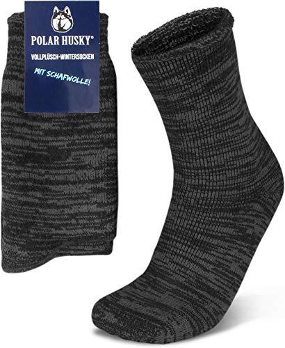 Polar Husky® 3 Paar Sehr warme Socken mit Vollplüsch und Schafwolle/Nie wieder kalte Füße! Farbe Vollplüsch/Wolle/Anthrazit Größe 43-46