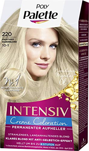Palette Intensiv Creme Coloration 220/10-1 Frostiges Silberblond, 3er Pack(3 x 115 ml)