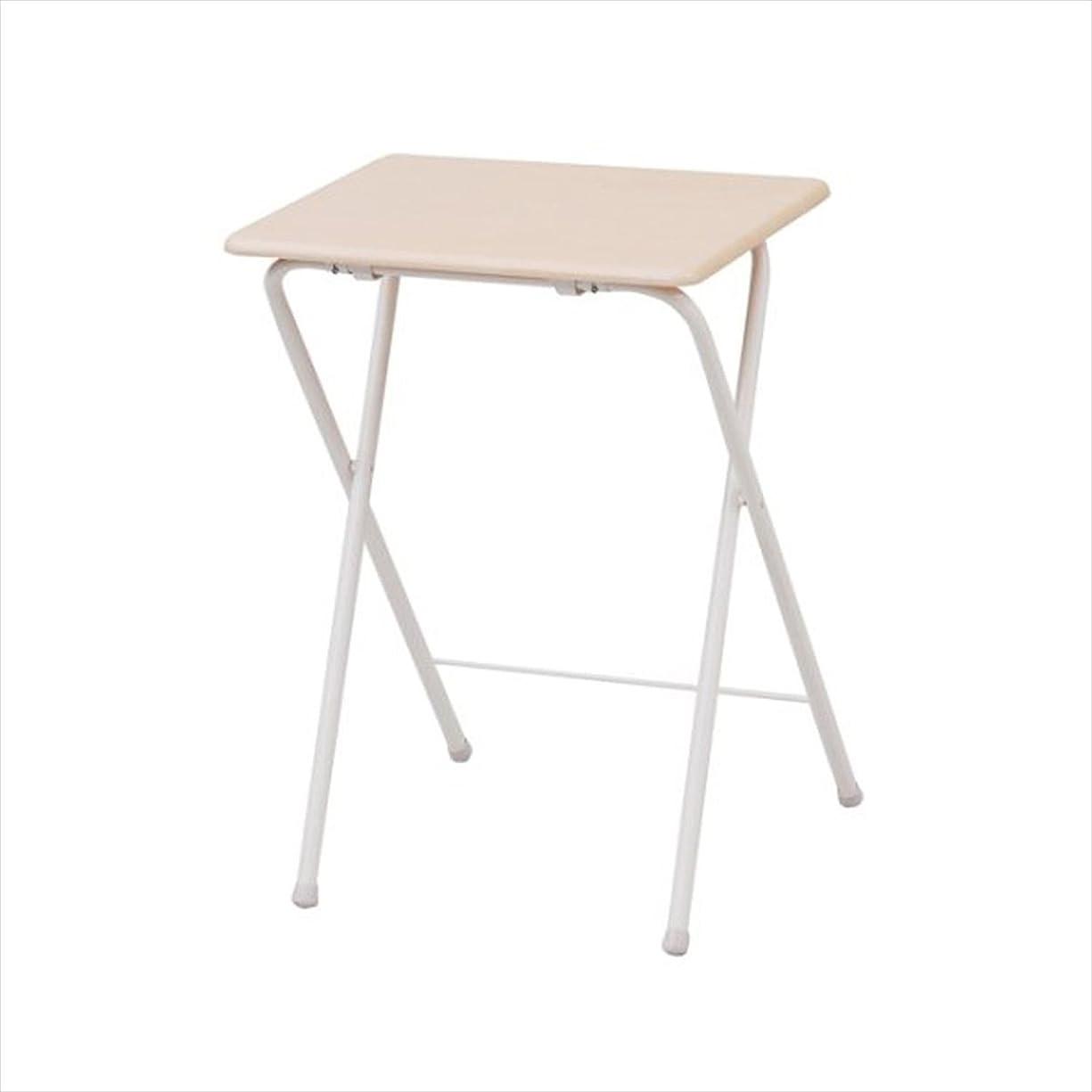 まだ磁石一定山善(YAMAZEN) テーブル ミニ 折りたたみ式 サイドテーブル 幅50×奥行48×高さ70cm ハイタイプ ナチュラルメイプル/アイボリー YST-5040H(NM/IV)