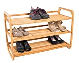 BirdRock Home 3-Tier Bamboo Shoe Rack - Environmentally Friendly - Fits 9-12 Shoes