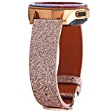 Greaciary Glitter Band Compatible with Samsung Galaxy Watch 3 41mm/Galaxy Watch 42mm,Active 40mm/Active 2 44m Sparkle Bling Leather Strap Wristband for Galaxy 20mm Smartwatch Women Girls Rose Pink
