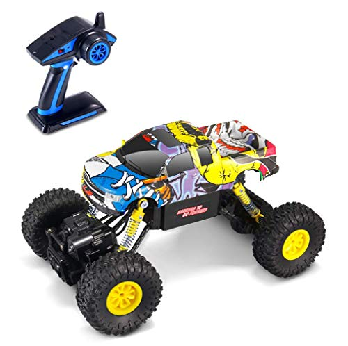 Theefun 2.4GHz 4WD RC Graffiti Rock Crawler with Lights Dual Motors Rechargeable 1:16 Scale Monster Truck Off-Road RC Car (Vary in Doodle Style)