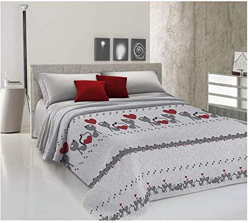 ALAMBRA Store - Colcha para cama de matrimonio y individual, primaveral, de piqué, fabricada en Italia, algodón ligero con estampado de gatos rosados (color 2, matrimonio)