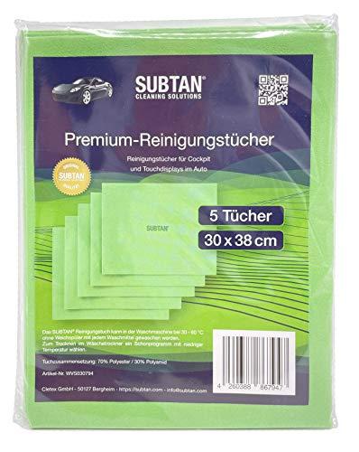 SUBTAN Toallitas de limpieza de alta calidad, 30 x 38 cm, 5 unidades, para salpicadero y pantallas táctiles en el coche