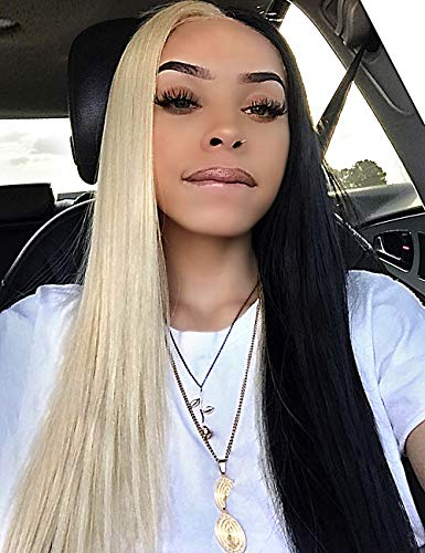 Sotica 28' Half Blonde and Half Black Color Middle Parted Yaki Synthetic Hair Wigs for Women Long Silky Smooth Straight High Temperature Synthetic Full Hair Wigs