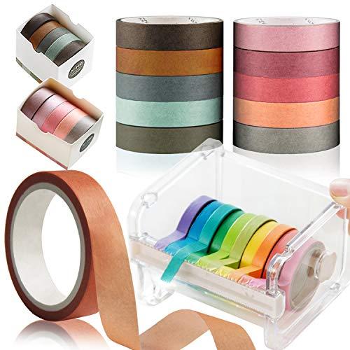 10 Rollos Cinta Adhesiva Colores, Kalolary Cinta Washi Adhesivo de Cinta con 1 Cinta Washi Cortada, Rollos de Cinta Grabable, Organizador Cortador Dispensador de Washi Tape para Oficina (Color Crema)